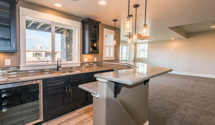 colorado custom home Basement kitchen