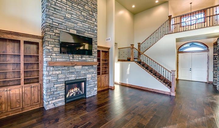 colorado custom home living area fireplace