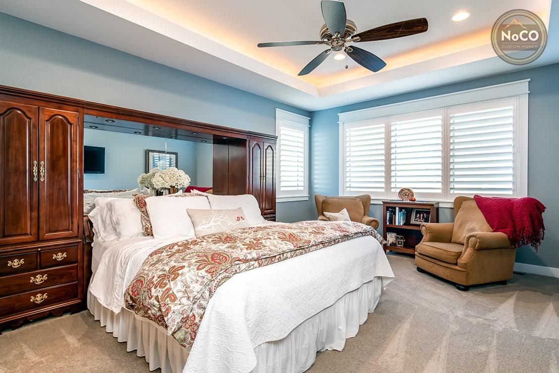 colorado custom home master bedroom built-ins