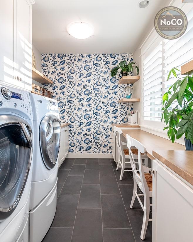 colorado custom home laundry room accent wall