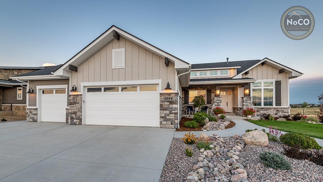 colorado custom home exterior garage doors driveway