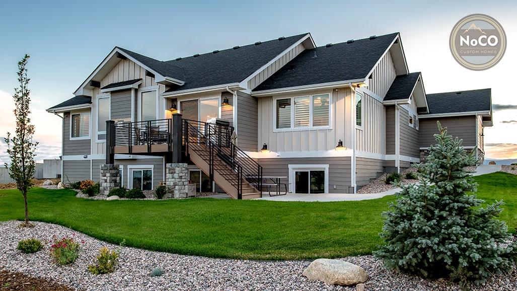 colorado custom home exterior back deck back yard
