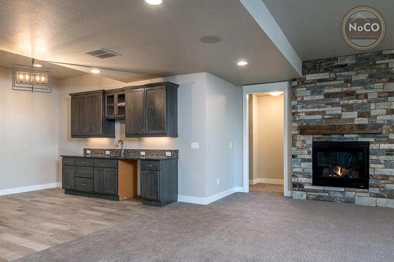 colorado custom home basement kitchen fireplace