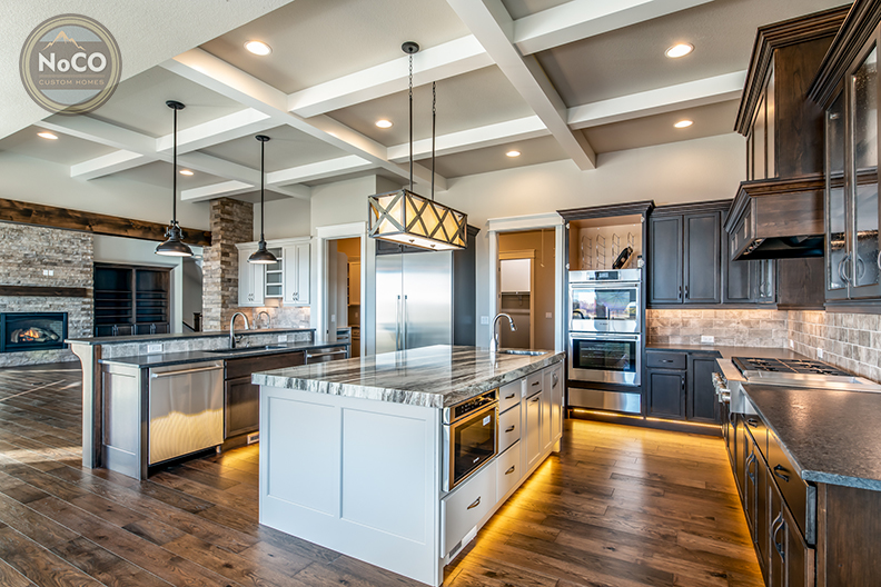 colorado custom home kitchen double island