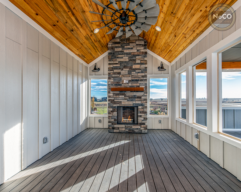colorado custom home enclosed deck fireplace