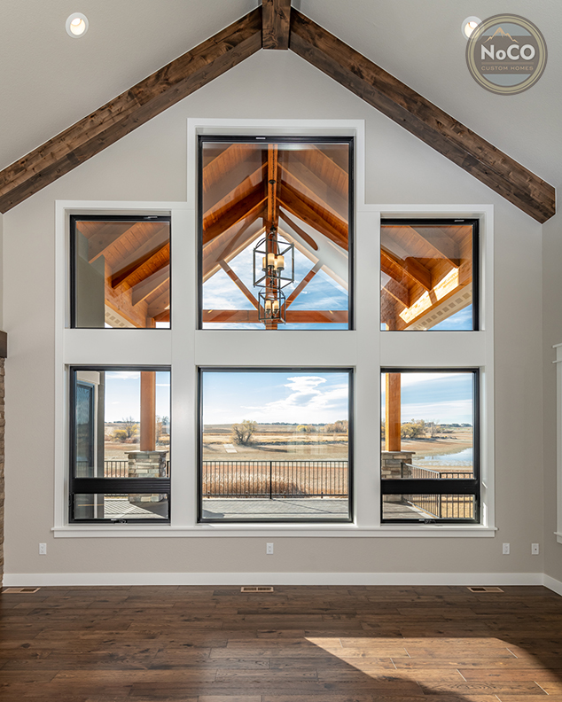 colorado custom home vaulted ceiling with beams