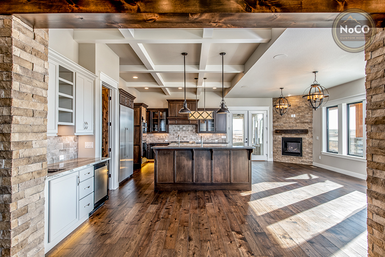 colorado custom home kitchen hardwood floors