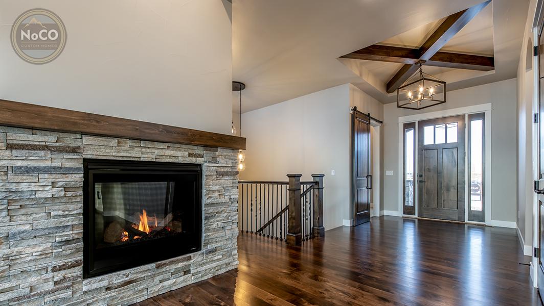 colorado custom home fireplace entryway