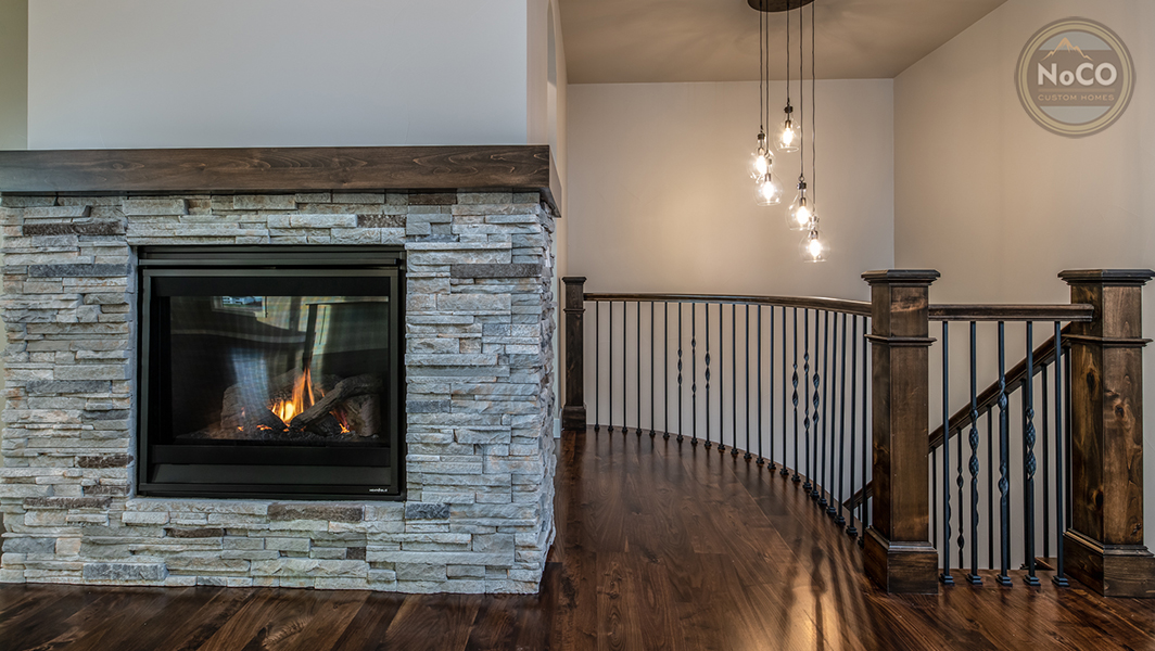 colorado custom home fireplace railing