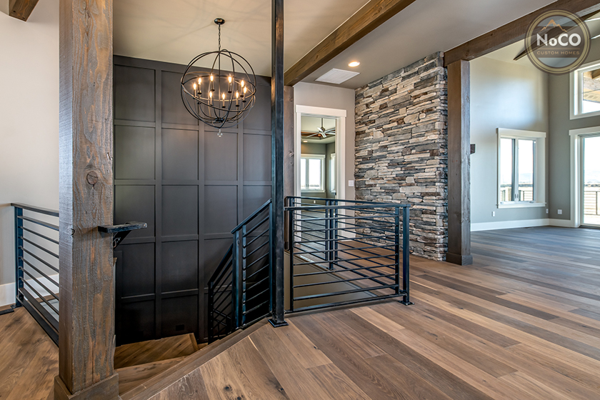 colorado custom home entryway stairs