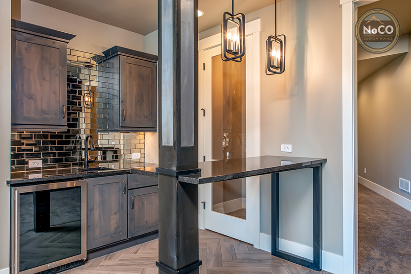 colorado custom home basement kitchen bar
