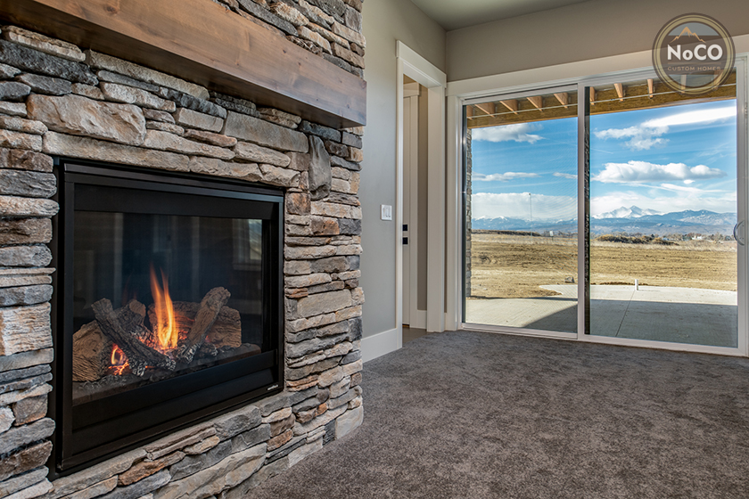colorado custom home walkout basement fireplace