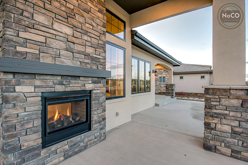 colorado custom home outdoor fireplace