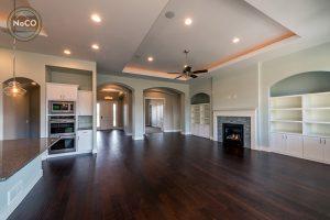 colorado custom home living room hardwood floors