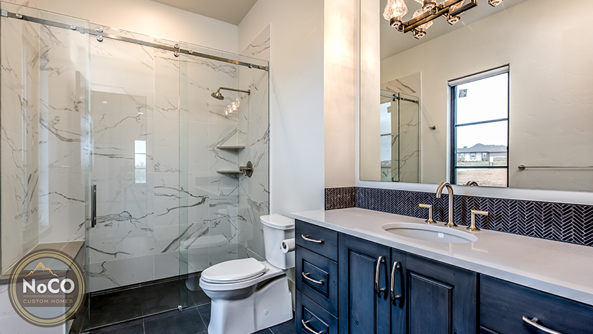 colorado custom home bathroom marble shower
