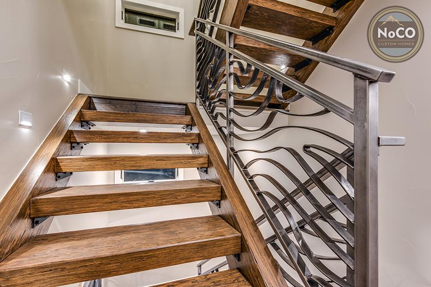 colorado custom home staircase railing