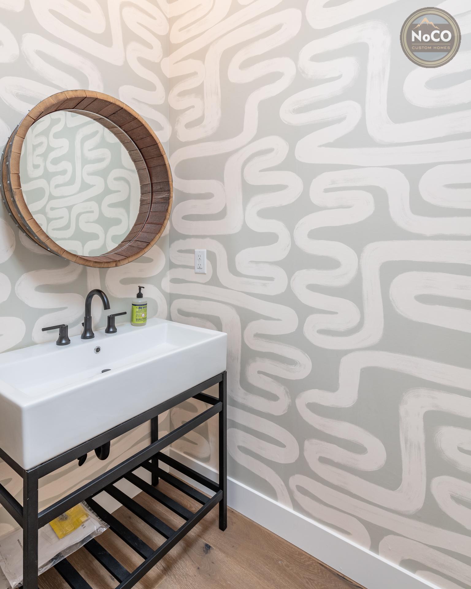 colorado custom home bathroom wallpaper