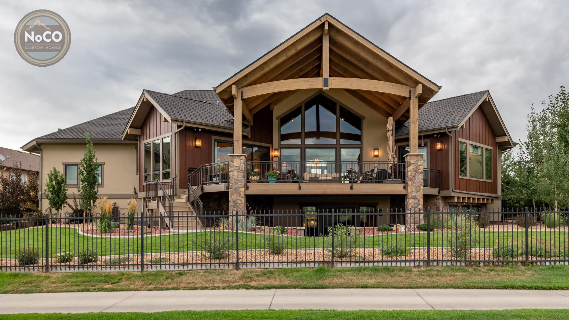 colorado custom home exterior back yard