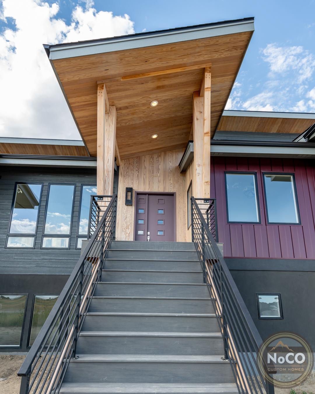 colorado custom home contemporary exterior stairs