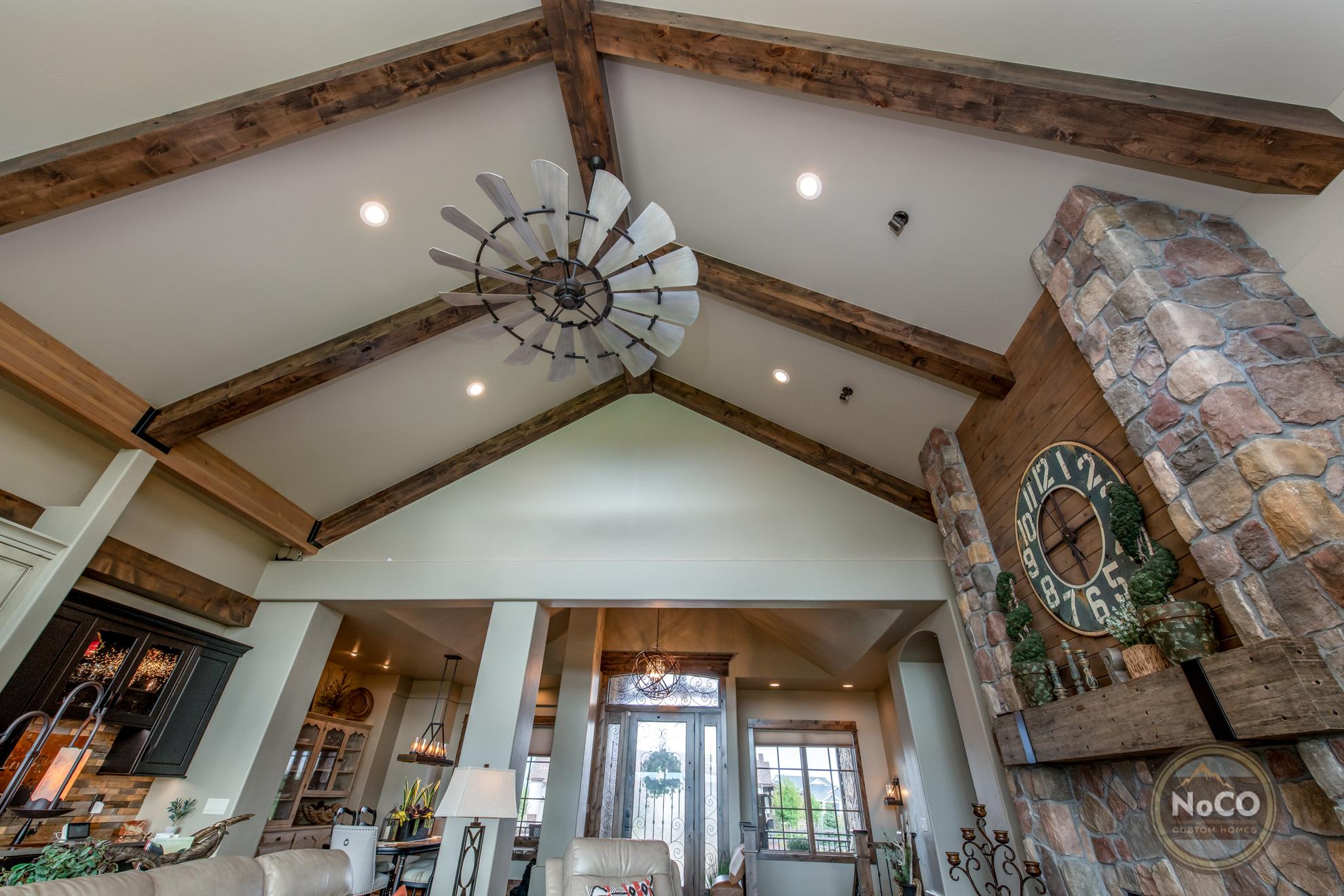 colorado custom home living room vaulted ceiling