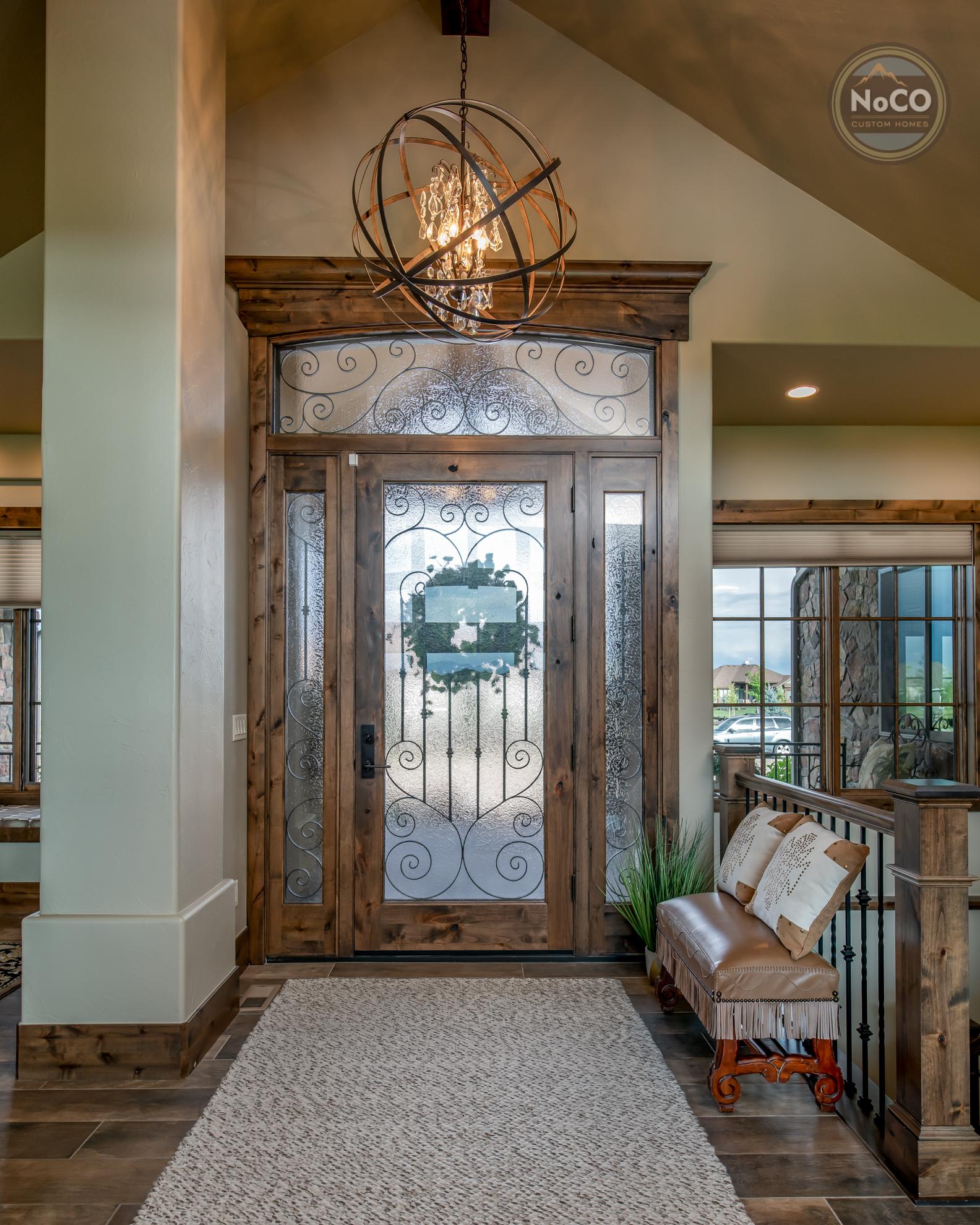 colorado custom home glass front door