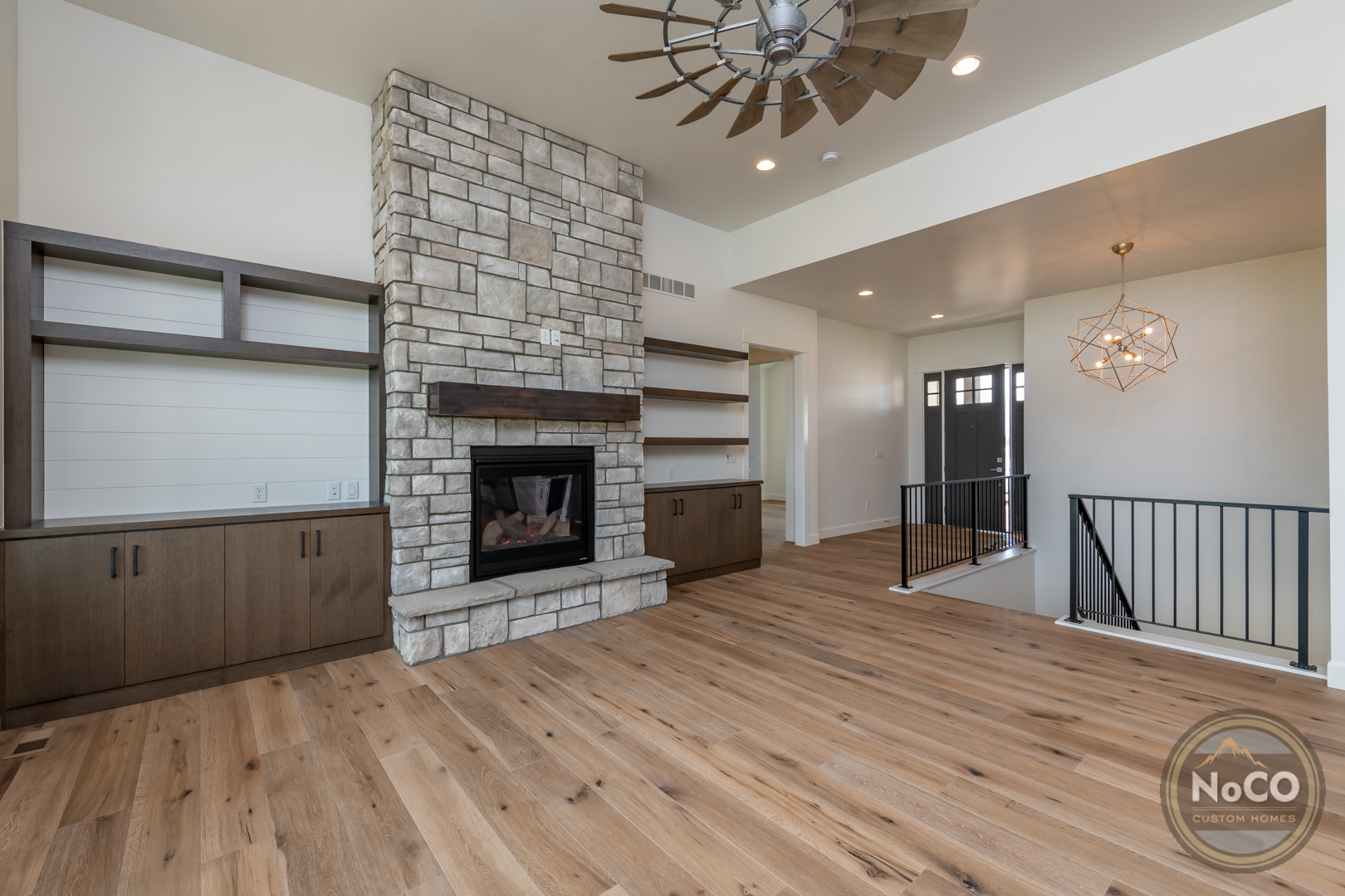 colorado custom home living room fireplace