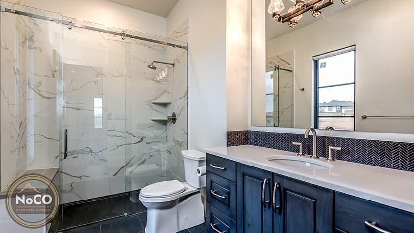 colorado custom home bathroom marble shower