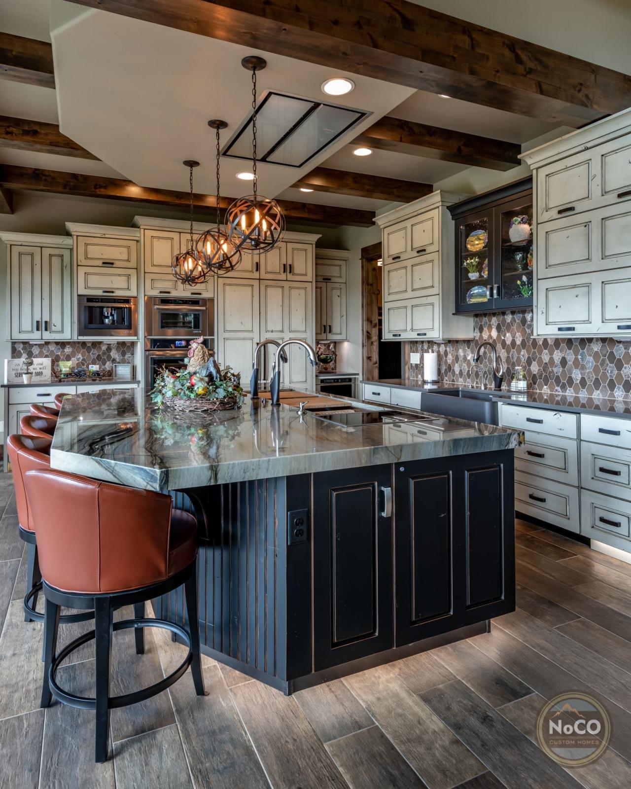 colorado custom home rustic kitchen