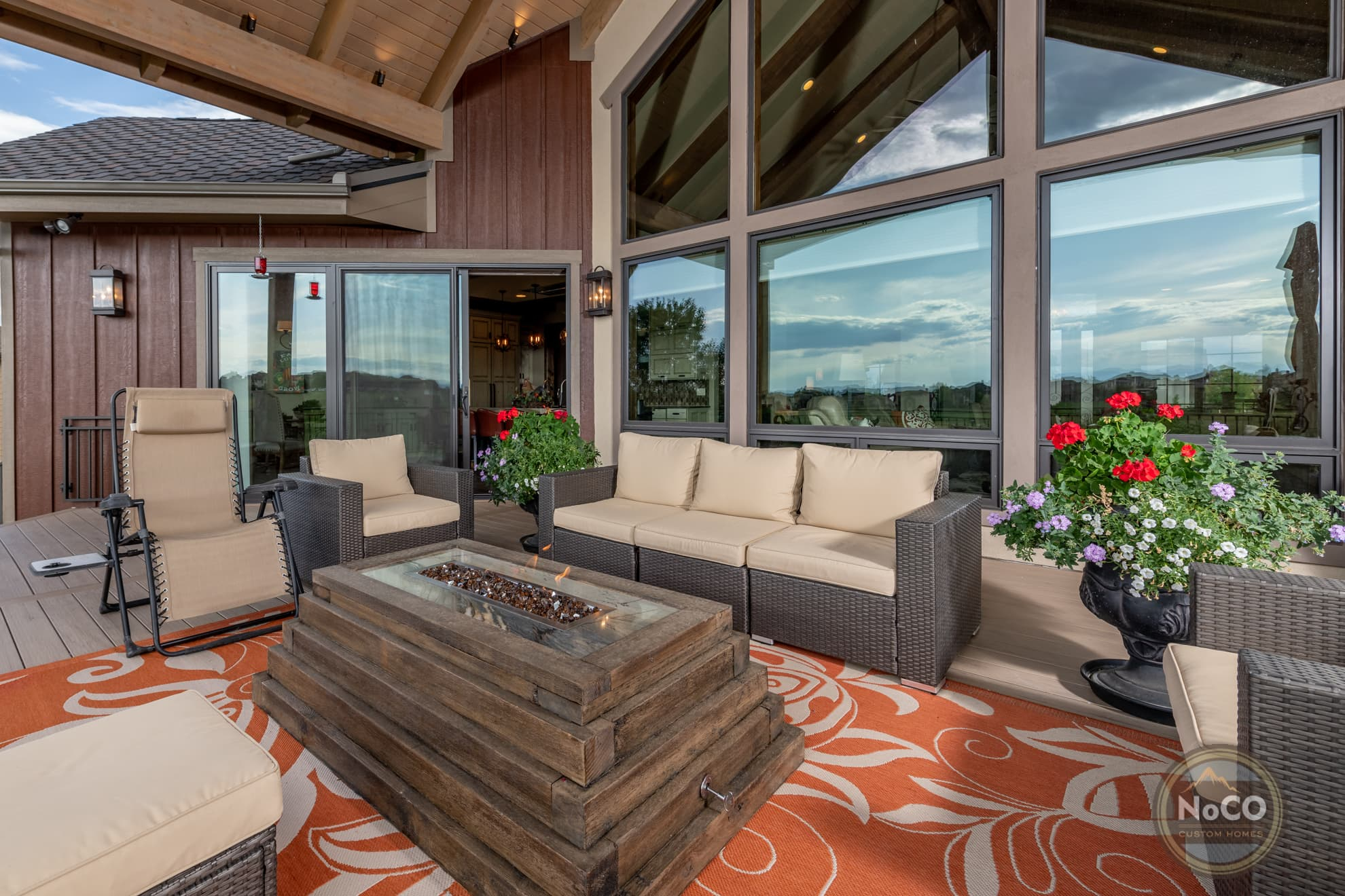colorado custom home back deck fire pit