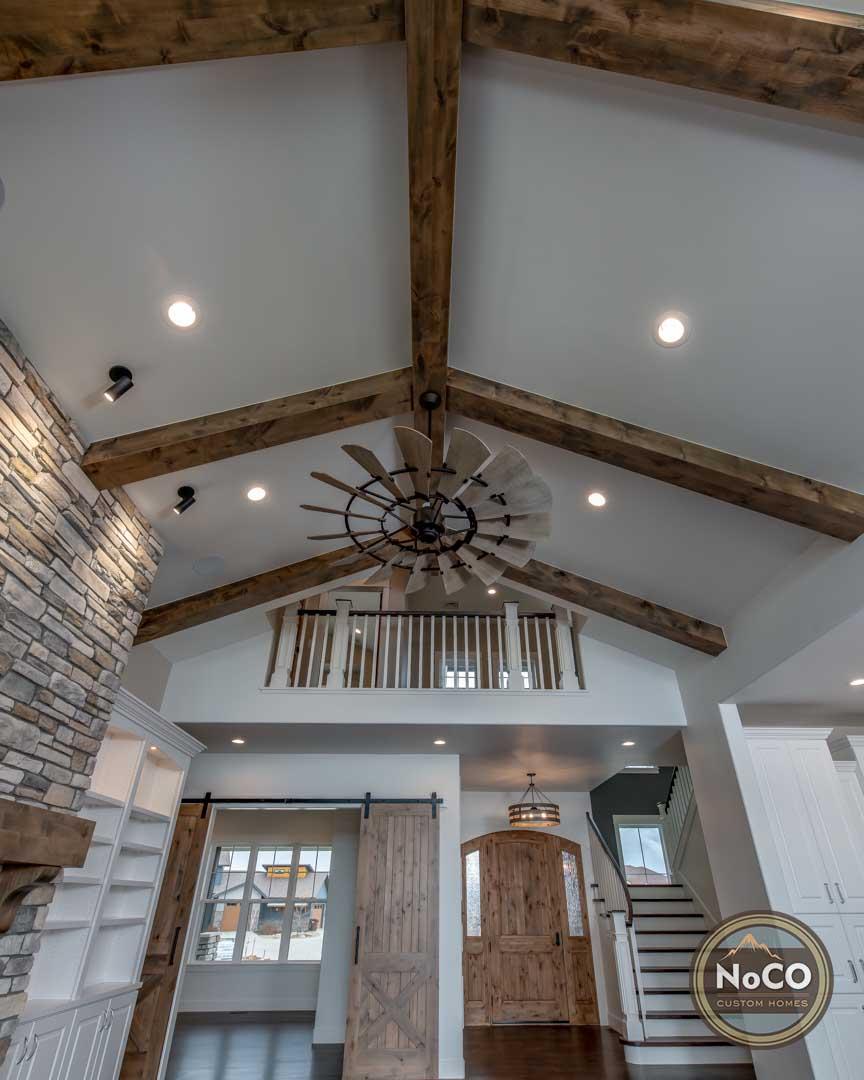 colorado custom home vaulted ceiling beams