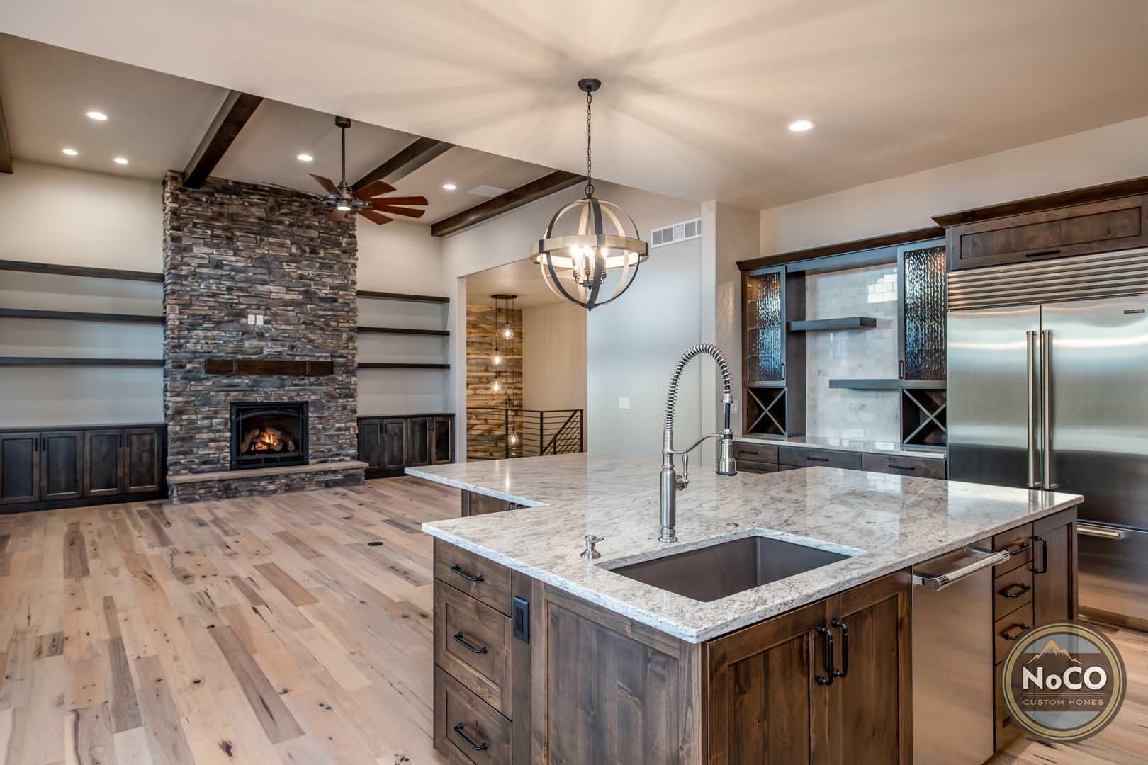 colorado custom home open concept kitchen living room