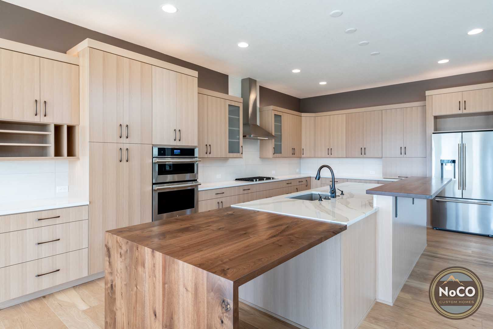 colorado custom home kitchen waterfall countertop