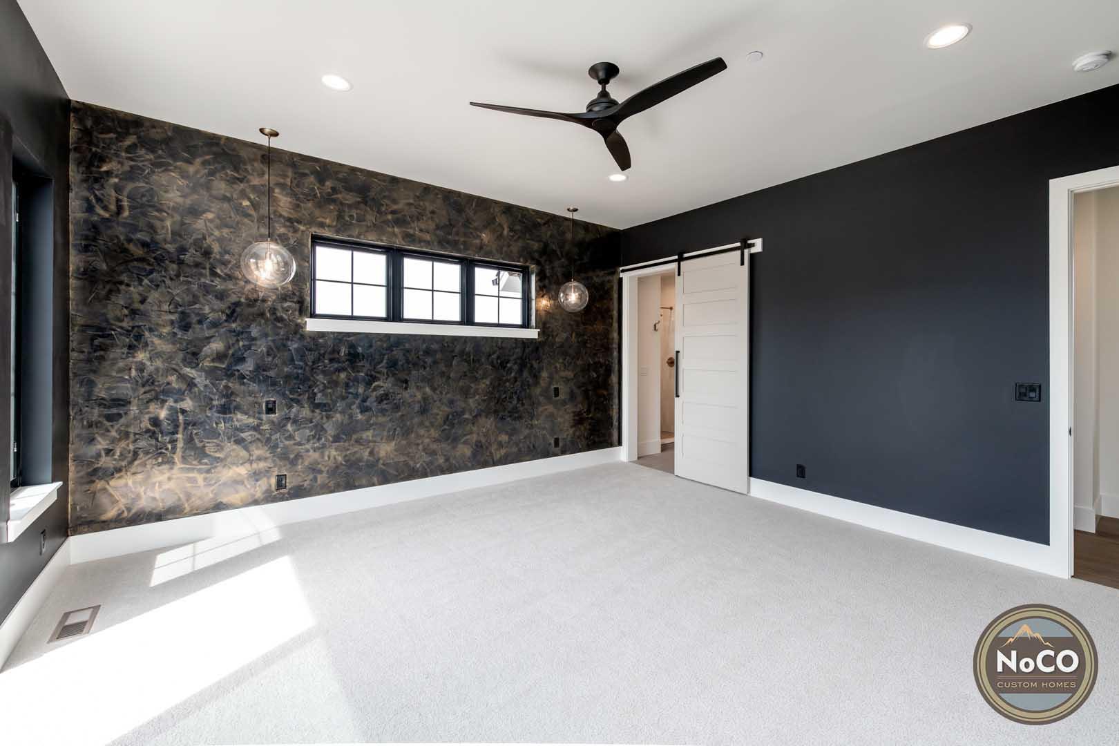 colorado custom home master bedroom accent wall