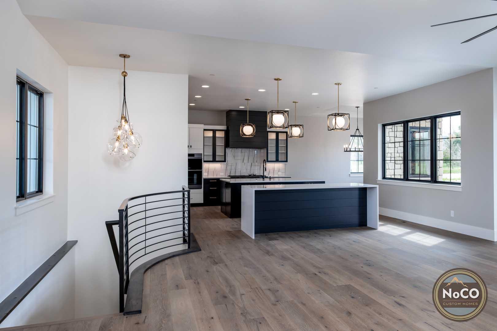 colorado custom home open concept living room kitchen
