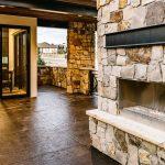 colorado custom home outdoor fireplace