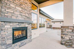 colorado custom home two sided fireplace