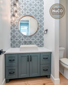 blue bathroom wall tile colorado custom home