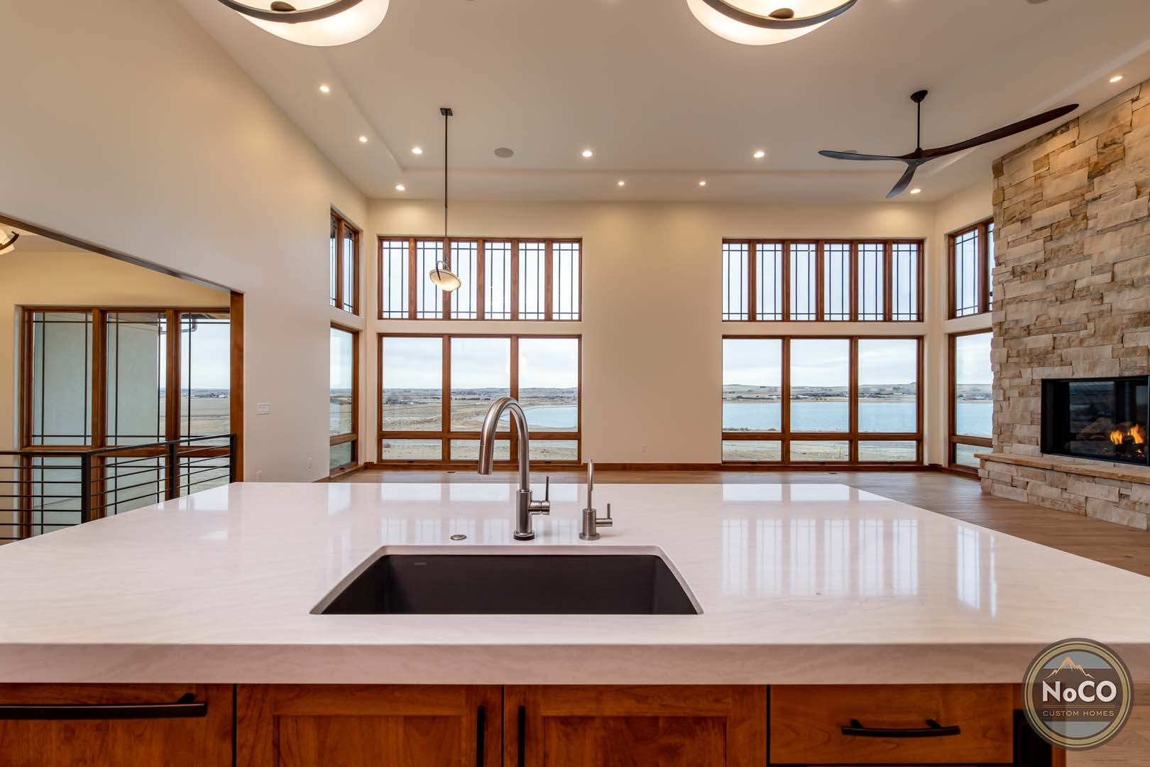 colorado custom home kitchen island open concept